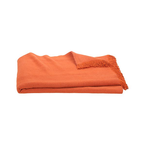 Linen Twill Orange Throw