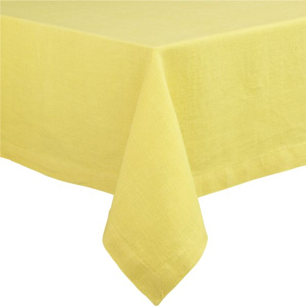 "Linen Yellow 60""x60"" Tablecloth"