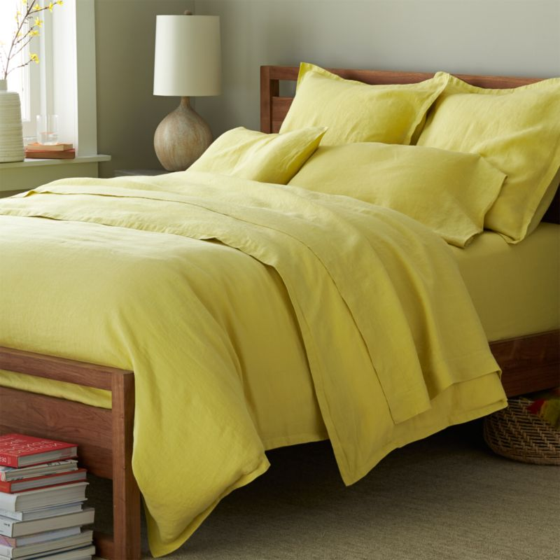 Super soft, washed bedding in solid, gorgeous hues spreads the bed in the comforting touch and relaxed, worn-in style of pure linen. One-inch, self-flange detailing and button closure adds casual tailoring. Duvet insert also available.<br />Due to the nature of linen, you will find slight variations in color, as well as fabric irregularities that come from the spinning or weaving process. The imperfections of the long and short fibers create knots and slubs in the weaving, giving this product a natural and unique look. These irregularities should not be considered imperfections, but rather the beauty of the linen fabric, one of the oldest natural fabrics in textiles.<br /><br /><NEWTAG/><ul><li>100% linen</li><li>Button closure</li><li>Machine wash, tumble dry low; warm iron as needed</li><li>Made in India</li></ul>