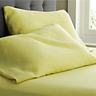Set of two Lino Citron Linen King Pillowcases.