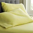 Set of two Lino Citron Linen Standard Pillow Cases.