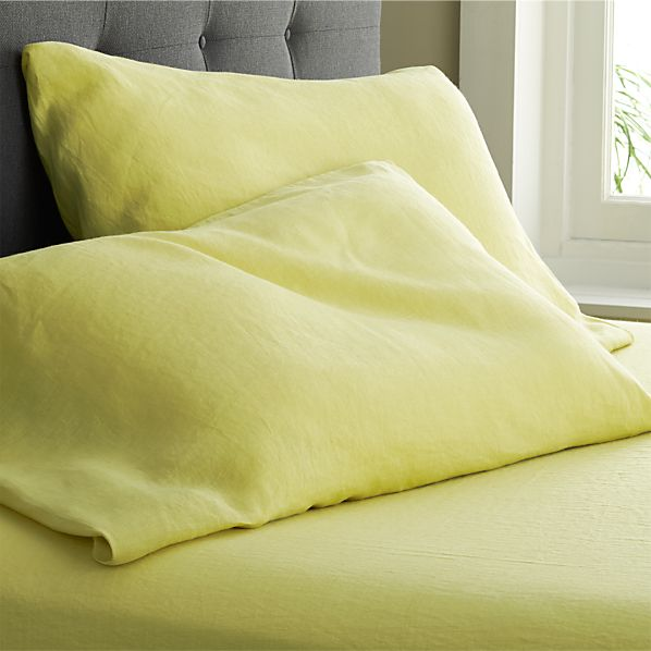 Set of 2 Lino Citron Linen Standard Pillow Cases