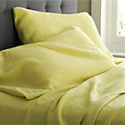 Lino Citron Linen Queen Flat Sheet.
