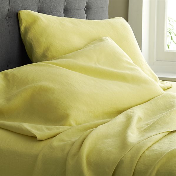 Lino Citron Linen King Flat Sheet