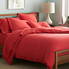 Lino Coral Linen Full/Queen Duvet Cover.