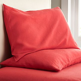 Set of 2 Lino Coral Linen King Pillowcases