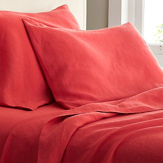 Lino Coral Linen Queen Fitted Sheet