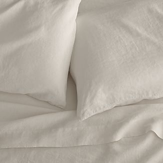Lino Cream Linen Queen Flat Sheet