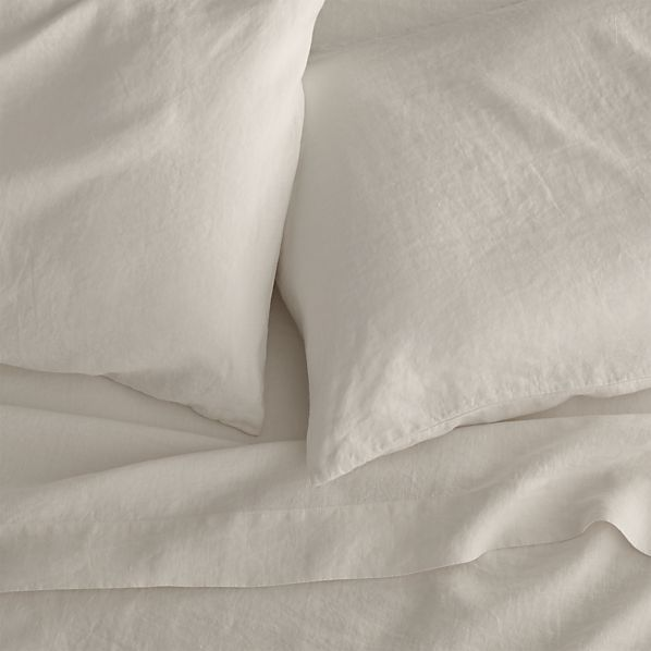 Lino Cream Linen Queen Fitted Sheet