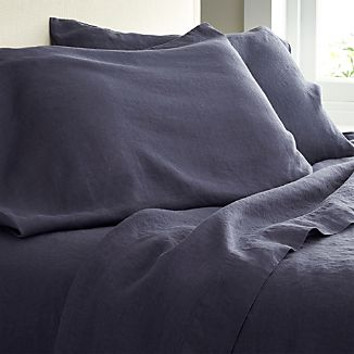 Lino Dark Blue Linen King Flat Sheet