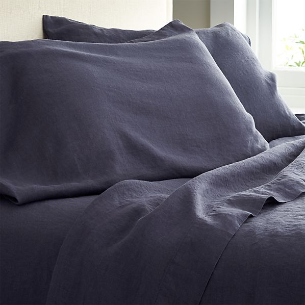 Lino Dark Blue Linen Queen Flat Sheet