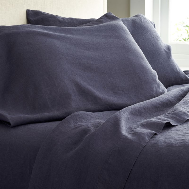 Super soft, washed bedding in solid, gorgeous hues spreads the bed in the comforting touch and relaxed, worn-in style of pure linen.<br />Due to the nature of linen, you will find slight variations in color, as well as fabric irregularities that come from the spinning or weaving process. The imperfections of the long and short fibers create knots and slubs in the weaving, giving this product a natural and unique look. These irregularities should not be considered imperfections, but rather the beauty of the linen fabric, one of the oldest natural fabrics in textiles.<br /><br /><NEWTAG/><ul><li>100% linen</li><li>Machine wash, tumble dry low; warm iron as needed</li><li>Made in India</li></ul>