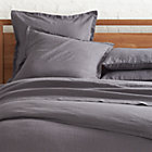 Lino Dark Grey Linen King Flat Sheet.