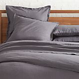 Lino Dark Grey Linen King Flat Sheet