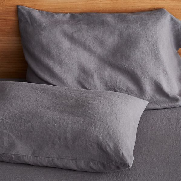 Set of 2 Lino Dark Grey Linen Standard Pillowcases
