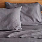 Lino Dark Grey Linen Queen Flat Sheet.