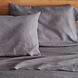 Lino Dark Grey Linen Queen Fitted Sheet