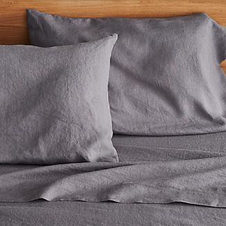 Lino Dark Grey Linen Queen Flat Sheet