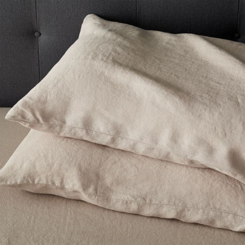 "Super soft, washed bedding in solid, gorgeous hues spreads the bed in the comforting touch and relaxed, worn-in style of pure linen. Cases have 3"" side pocket closures.<br />Due to the nature of linen, you will find slight variations in color, as well as fabric irregularities that come from the spinning or weaving process. The imperfections of the long and short fibers create knots and slubs in the weaving, giving this product a natural and unique look. These irregularities should not be considered imperfections, but rather the beauty of the linen fabric, one of the oldest natural fabrics in textiles.<br /><br /><NEWTAG/><ul><li>100% linen</li><li>3"" side pocket closure</li><li>Machine wash, tumble dry low; warm iron as needed</li><li>Made in India</li></ul>"