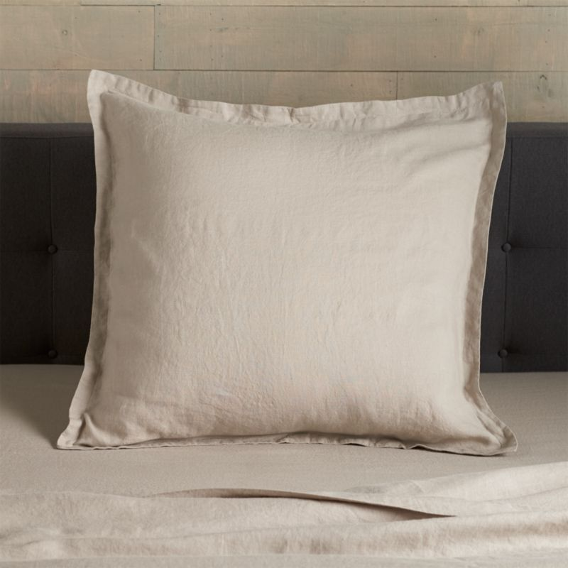 Super soft, washed bedding in solid, gorgeous hues spreads the bed in the comforting touch and relaxed, worn-in style of pure linen. One-inch, self-flange detailing and envelope closure adds casual tailoring. Pillow insert also available.<br /><br />Due to the nature of linen, you will find slight variations in color, as well as fabric irregularities that come from the spinning or weaving process. The imperfections of the long and short fibers create knots and slubs in the weaving, giving this product a natural and unique look. These irregularities should not be considered imperfections, but rather the beauty of the linen fabric, one of the oldest natural fabrics in textiles.<br /><br /><NEWTAG/><ul><li>100% linen</li><li>