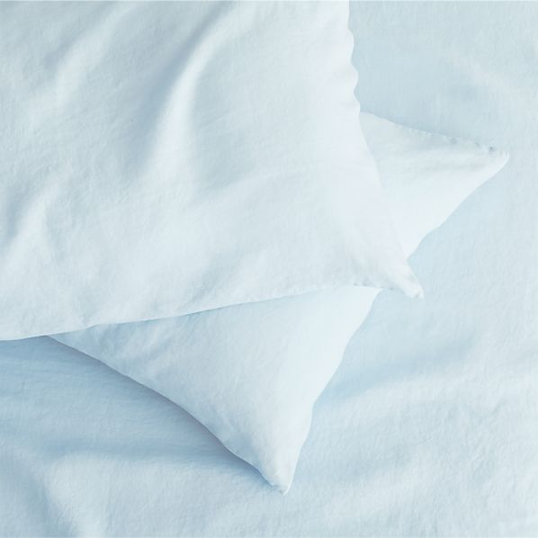 Set of 2 Light Blue Linen Standard Pillowcases