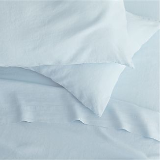 Lino Light Blue Linen Sheets and Pillowcases