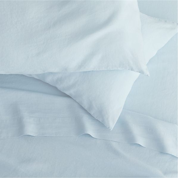 Lino Light Blue Linen King Fitted Sheet
