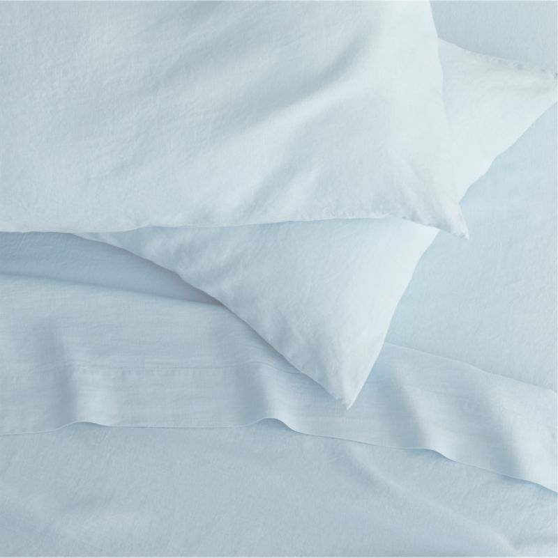 "Super soft, washed bedding in solid, gorgeous hues spreads the bed in the comforting touch and relaxed, worn-in style of pure linen.<br />Due to the nature of linen, you will find slight variations in color, as well as fabric irregularities that come from the spinning or weaving process. The imperfections of the long and short fibers create knots and slubs in the weaving, giving this product a natural and unique look. These irregularities should not be considered imperfections, but rather the beauty of the linen fabric, one of the oldest natural fabrics in textiles.<br /><br /><NEWTAG/><ul><li>100% linen</li><li>3"" hem</li><li>Machine wash, tumble dry low; warm iron as needed</li><li>Made in India</li></ul>"