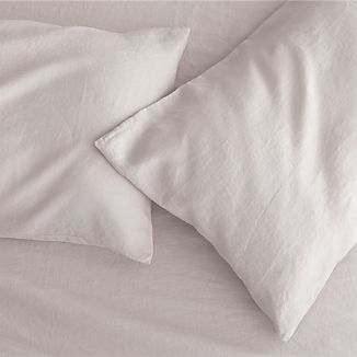 Set of 2 Lino Light Grey Linen King Pillowcases
