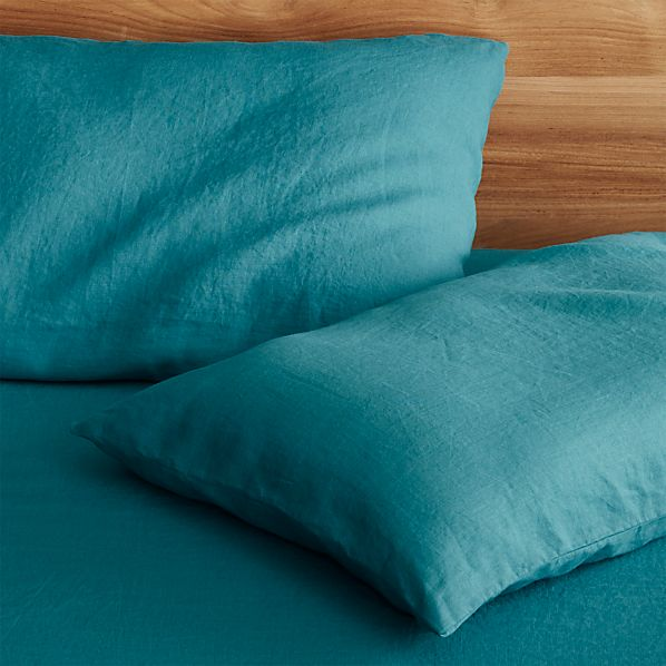 Set of 2 Lino Teal Linen Standard Pillowcases