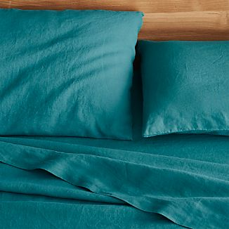 Lino Teal Linen Queen Flat Sheet