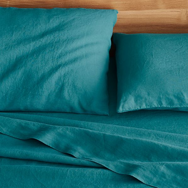 Lino Teal Linen Sheets and Pillowcases