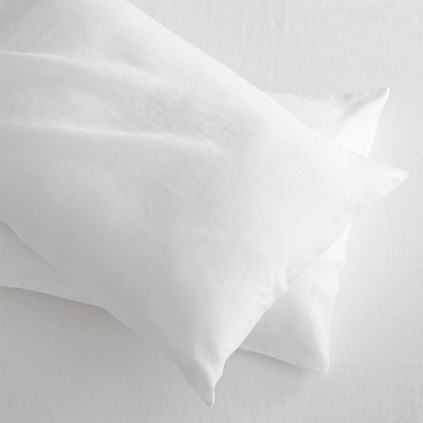 Set of 2 Lino White Linen King Pillowcases