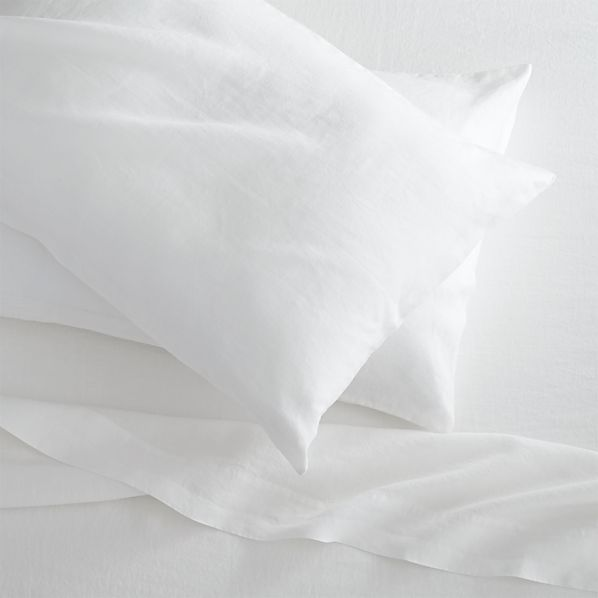 Lino White Linen King Flat Sheet