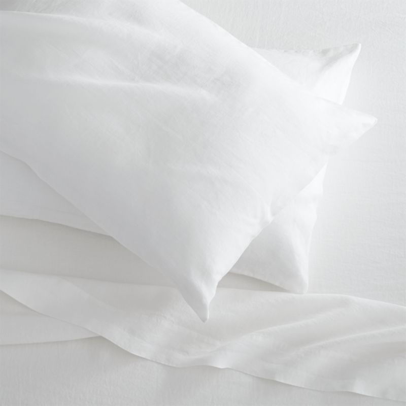 Super soft, washed bedding in solid, gorgeous hues spreads the bed in the comforting touch and relaxed, worn-in style of pure linen.<br /><br />Due to the nature of linen, you will find slight variations in color, as well as fabric irregularities that come from the spinning or weaving process. The imperfections of the long and short fibers create knots and slubs in the weaving, giving this product a natural and unique look. These irregularities should not be considered imperfections, but rather the beauty of the linen fabric, one of the oldest natural fabrics in textiles.<br /><br /><NEWTAG/><ul><li>100% linen</li><li>Machine wash, tumble dry low; warm iron as neede