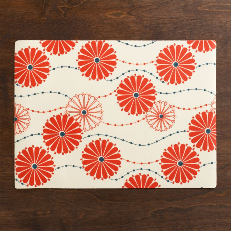 Traditional Japanese floral pattern blooms bright and contemporary in blue and orange, trailing solid and outlined mums on delicate stems.<br /><br /><NEWTAG/><ul><li>100% cotton on PVC</li><li>Wipe with damp cloth</li><li>Made in USA and India </li></ul>