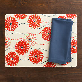 Lisette Placemat and Cotton Smoky Blue Napkin
