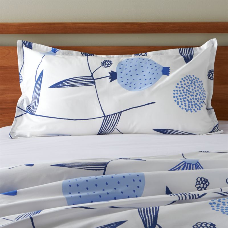 """Fujiwo Ishimoto's interpretation of the stark beauty of Finland's Lapland scatters line drawings of blue vines, leaves and flowers on crisp white cotton percale. Shams have 1"""" flange and generous overlapping back closures. Bed pillows also available.<br /><br /><NEWTAG/><ul><li>Designed by Fujiwo Ishimoto</li><li>100% cotton percale</li><li>300-thread-count</li><li>Overlapping back closures</li><li>Machine wash cold, tumble dry low; warm iron as needed</li><li>Made in Pakistan</li></ul>"""