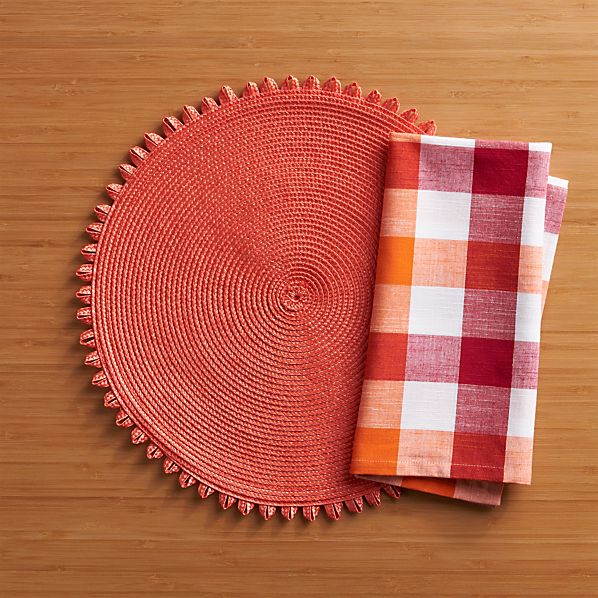 Loopdedoo Orange Placemat and Gingham Red-Orange Napkin