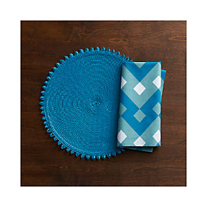 Loopdedoo Azure Placemat and Palace Blue Napkin