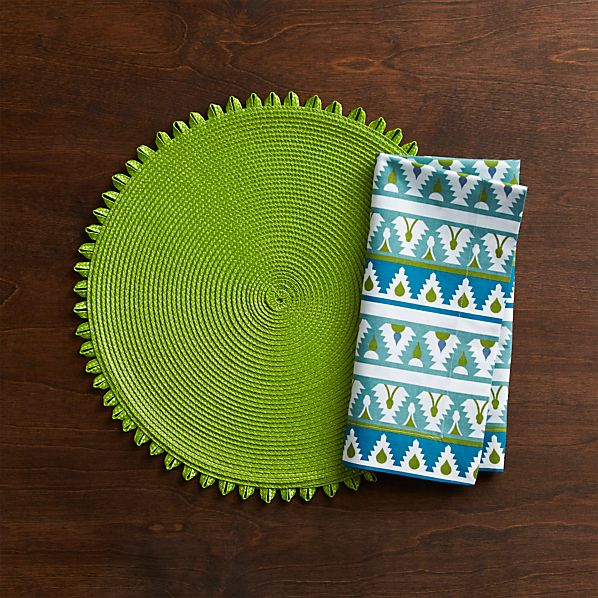Loopdedoo Lime Placemat and Palace Blue Trim Napkin