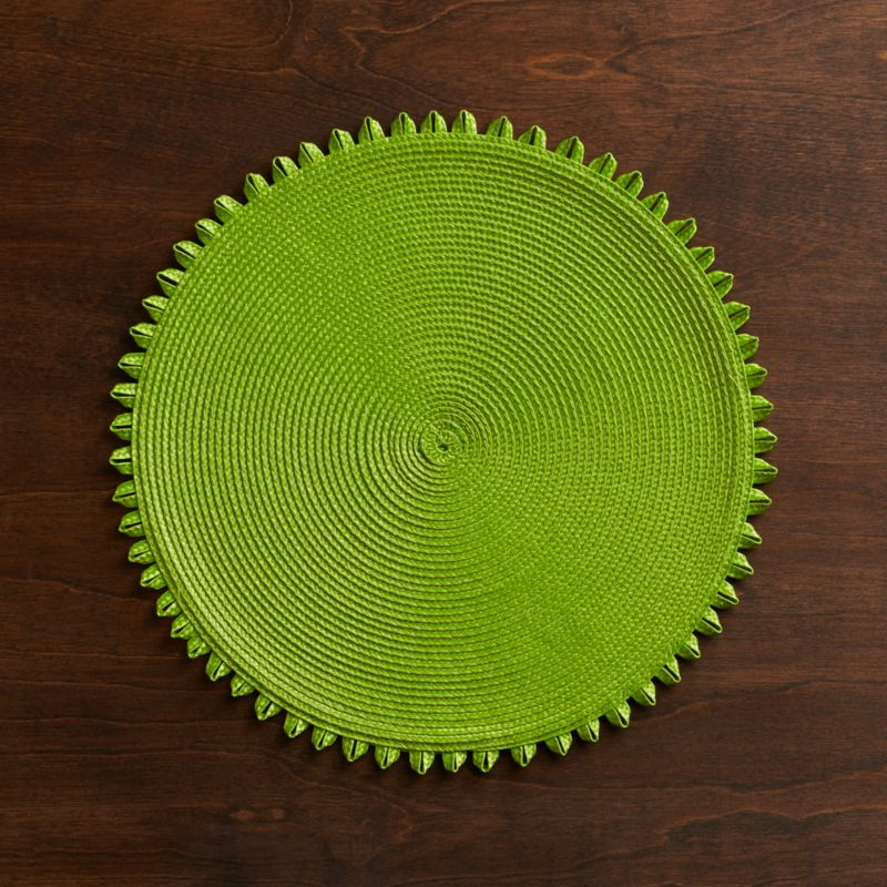 A corona of free-spirited loops lends fun-loving flair to our colorful, easy-care placemat rounds that a take shine to casual indoor or outdoor dining. Coordinating coasters complete the look.<br /><br /><NEWTAG/><ul><li>100% polypropylene</li><li>Clean with damp cloth</li><li>Made in China</li></ul>