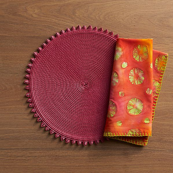 Loopdedoo Rose Placemat and Circ Pink Napkin