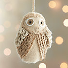 Ivory Loopy Owl Ornament.
