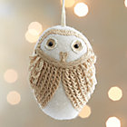 White Loopy Owl Ornament.