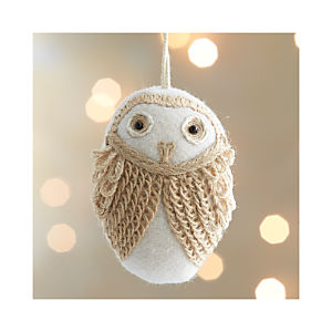 White Loopy Owl Ornament