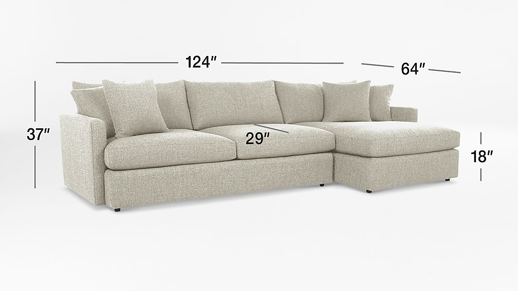 lounge ii 2 piece sectional sofa cement crate and barrel
