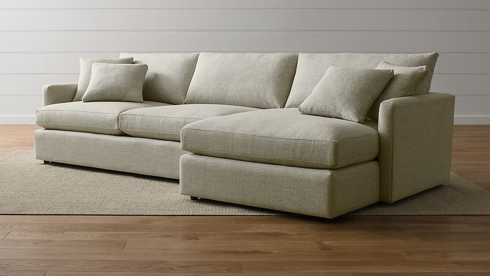 Lounge ii 2 piece sectional sofa cement crate and barrel for Crate and barrel lounge 2 piece sectional sofa