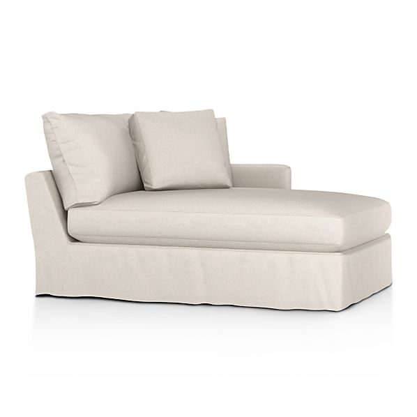 Lounge slipcovered right arm chaise lounge dove with for Armless chaise slipcover