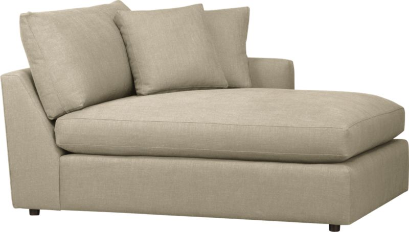 "Family-style informality shapes up with clean, modern lines in a luxe linen weave that's both practical and pampering. You can really curl up in Lounge's plush, roomy sectional pieces, combined just the way you want them. Chaise is complete with two modern box throw pillows.<br /><br />Lounge <a href=""http://crateandbarrel.custhelp.com/cgi-bin/crateandbarrel.cfg/php/enduser/crate_answer.php?popup=-1&p_faqid=125&p_sid=DMUxFvPi"">slipcovers</a> available below and through stores featuring our Furniture Collection.<br /><br />After you place your order, we will send a fabric swatch via next day air for your final approval. We will contact you to verify both your receipt and approval of the fabric swatch before finalizing your order.<br /><br /><NEWTAG/><ul><li>Eco-friendly construction</li><li>Certified sustainable, kiln-dried hardwood frame</li><li>Seat cushion is multilayer soy- or plant-based polyfoam wrapped in fiber-down blend and encased in downproof ticking</li><li>Flexolator spring suspension</li><li>Back cushion is fiber-down blend wrapped in downproof ticking</li><li>Upholstery fabric is 92% polyester, 8% linen with self-welt detail</li><li>Benchmade</li><li>Made in North Carolina, USA</li></ul>"